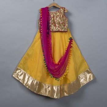 Yellow Chanderi Lehenga Choli