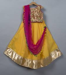 Yellow Chanderi Lehenga Choli