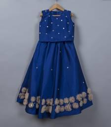 Dark blue silk lehenga with blouse