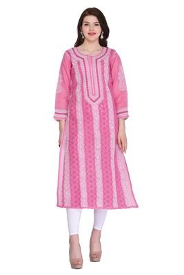 Onion-pink embroidered cotton chikankari-kurtis