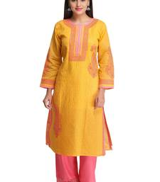 Mustard Embroidered Cotton Chikankari Kurti
