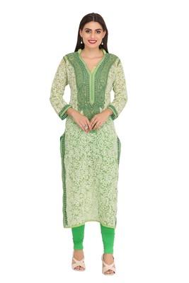 Green embroidered georgette chikankari-kurtis