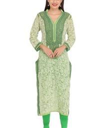 Buy Green embroidered georgette chikankari-kurtis chikankari-kurtis online