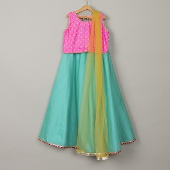 Blue chanderi lehenga with pink bandani blouse