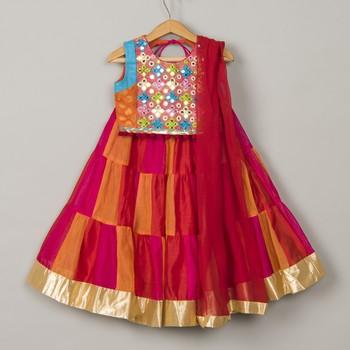Chanderi mirror work lehenga blouse