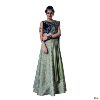 Grey color silk designer semi  stitched lehenga choli