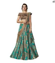 Green Embroidered Brocade Semi Stitched Lehenga With Dupatta