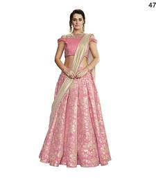Pink Embroidered Brocade Semi Stitched Lehenga With Dupatta