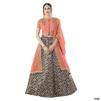 Blue color silk designer semi  stitched lehenga choli