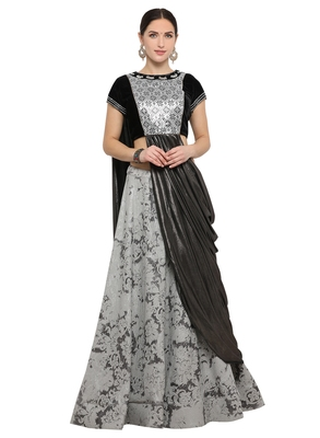Grey color art silk designer semi  stitched lehenga choli