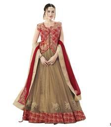 Beige Color Net Designer Semi  Stitched Lehenga Choli