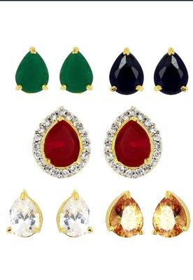 M Creation Gold-plated Multi-color 5 In 1 Interchangeable Stud Earrings For Women/girls(ET047_WATERDROP)