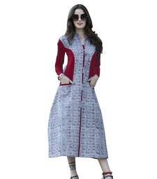 Buy Grey printed rayon kurti long-kurtis online