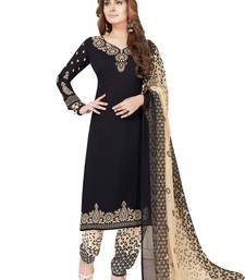 Buy Black printed synthetic salwar dress-material online