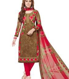 Brown printed synthetic salwar