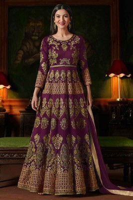 Purple Embroidered Georgette Anarkali Salwar Kameez Wtih Dupatta