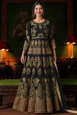 Black Embroidered Georgette Anarkali Salwar Kameez Wtih Dupatta