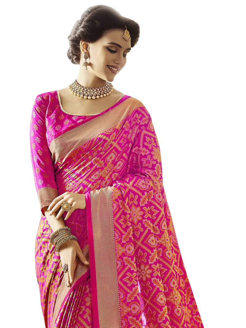 6cac747f66 Pink patola saree with blouse - Vastrang - 2657867