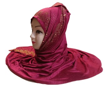 Maroon Diamond Stone Work Hosiery Cotton Islamic Hijab Scarf