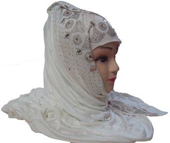 White daily wear diamond stone work hosiery cotton islamic hijab scarf