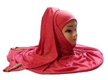 Peach Tassel And Beads Work Hosiery Cotton Islamic Hijab Scarf