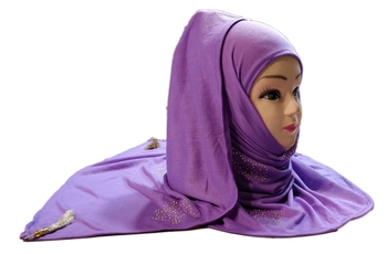 Lavender (violet) tassel and beads work hosiery cotton islamic hijab scarf