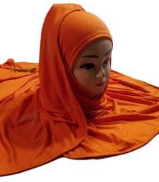 Orange tassel and beads work hosiery cotton islamic hijab scarf