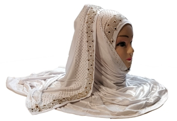White Diamond Stone Work Hosiery Cotton Islamic Hijab Scarf