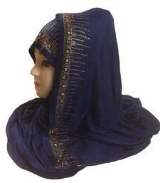 Buy Darkblue diamond stone work hosiery cotton islamic hijab scarf hijab online