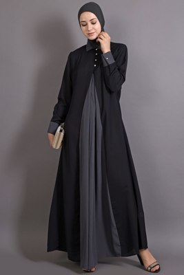 Black and grey poly crepe plain casual islamic abaya