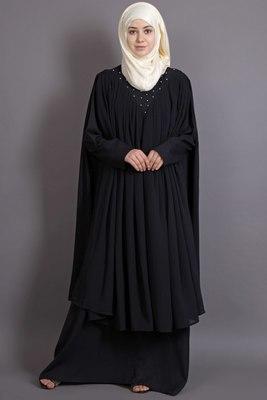 Black georgette embroidered casual islamic abaya