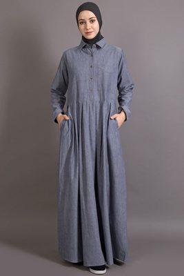 Blue Cotton Plain Formal Islamic Abaya