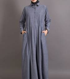 Blue Cotton Plain Formal Islamic Abaya
