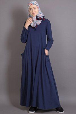 Navy Blue Jersey Plain Casual Islamic Abaya