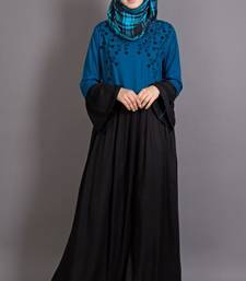 Black Viscose Embroidered Party Islamic Abaya