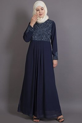 Blue Poly Georgette Plain Party Islamic Abaya