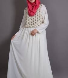 Off White Poly Georgette Plain Party Islamic Abaya
