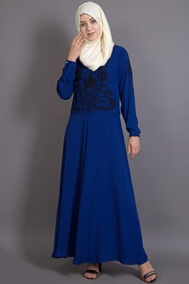 Blue Crepe Embroidered Party Islamic Abaya
