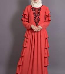 Orange Crepe Embroidered Party Islamic Abaya