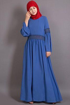 Blue Poly Crepe Plain Casual Islamic Abaya