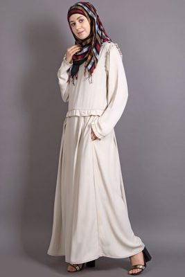 Ivory Heather Moss Plain Casual Islamic Abaya