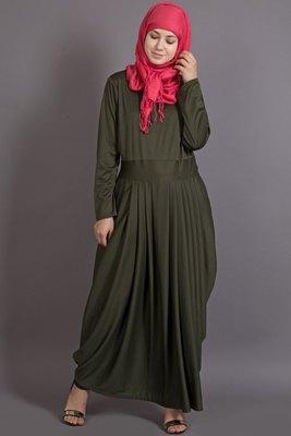 Olive Poly Crepe Plain Casual Islamic Abaya