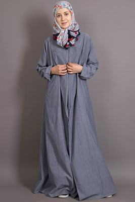 Grey denim plain casual islamic abaya
