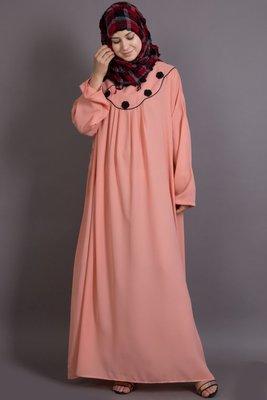 Peach Poly Crepe Plain Casual Islamic Abaya