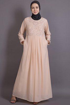 Peach Poly Georgette Plain Casual Islamic Abaya