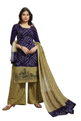 dcc6062517 Dark-blue Color Bandhej Satin Cotton Salwar Suit Dupatta Bandhani Dress  Material