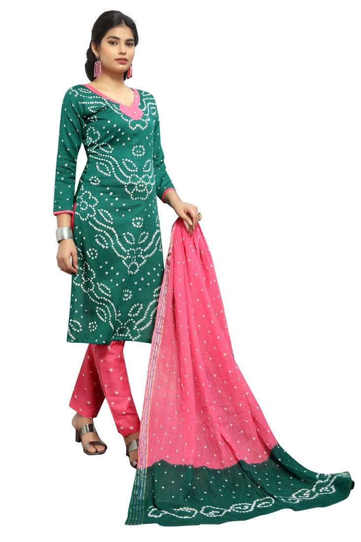 1cd77e2a1 ... Green Color Bandhej Satin Cotton Salwar Suit Dupatta Bandhani Dress  Material