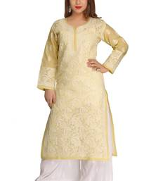 Fawn embroidered cotton chikankari-kurtis