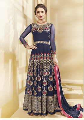Blue Multi Resham Work Georgette Salwar With Dupatta