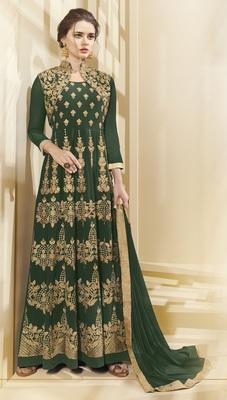 Green Multi Resham Work Georgette Salwar With Dupatta